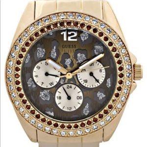 GUESS leopard print gold bling watch